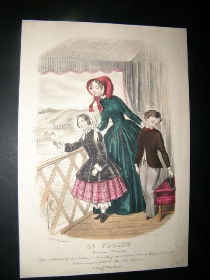 Le Follet C1860's Hand Coloured Fashion Print 1634 | Albion Prints